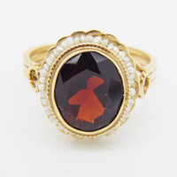 Vintage Victorian Revival 14K Yellow Gold Garnet and Seed Pearl Ring
