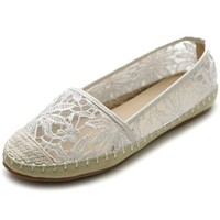 Ollio Women's Ballet Shoe Breathable Floral Lace Flat