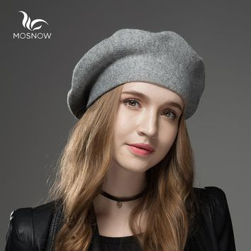Mosnow Winter Hat Berets 2017 New Wool Cashmere  Womens Warm Brand Casual High Quality Women's Vogue Knitted  Hats For Girls Cap