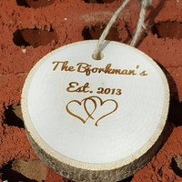 Engraved Ornament with Family Name Established Date and Entwined Hearts ~ Christmas Gift ~ Newlywed Gift ~ Couples First Christmas