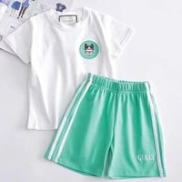 Gucci Girls Boys Children Baby Toddler Kids Child Fashion Casual Shirt Top Tee Shorts Set Two-Piece