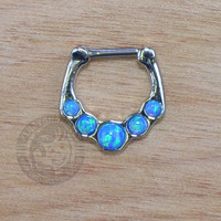 Blue Five Paved Opalite Steel Septum Clicker