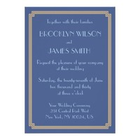 Great Gatsby Art Deco Blue Gold Wedding Invites