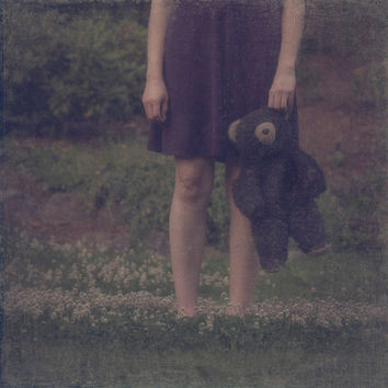 SALE Portrait of a Girl in a Purple Nightgown, Stuffed Black Bear Photograph, Surreal Fine Art, 8 x 8, Nature, Portrait Photography