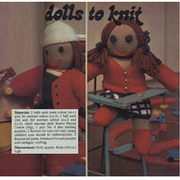 Knitting Pattern 70s Jack and Jill Dolls Pattern