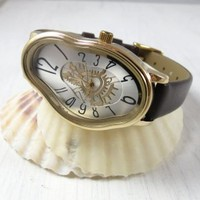Gold Ladies Watch Inspired By Salvador Dali - Women Wrist Watch - Leather Watch - Women's Watches