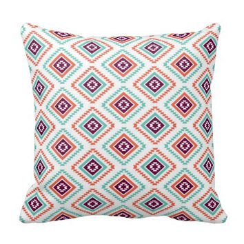 Tribal Ikat Diamond Aztec Pattern Throw Pillows