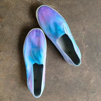 Pink purple blue tie dyed slip on shoes Vans men's MADE TO ORDER