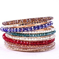 MULTI COLORS MIXED WITH GOLD SET OF 12 BANGLES