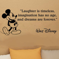 Disney Mickey Mouse Laughter Is Timeless wall quote vinyl wall decal sticker 13i
