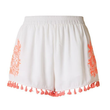 Embroidered Tassel Shorts - Ivory