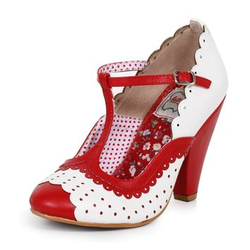 Ellie Shoes E-BP403-Paige T Strap Dot Detail Heel