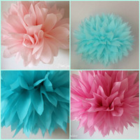 8 Tissue Pom Poms - Princess Decor-1st Girl Birthday-Wedding Decorations - Bridal Shower - Anniversary- Engagement - Flowers - Sweet 16