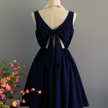 A Party V - Lolita Dress Sweet Lolita Backless Dress Navy Dress Navy Bridesmaid Dress Navy Blue Party Dress Navy Summer Dress XS-XL