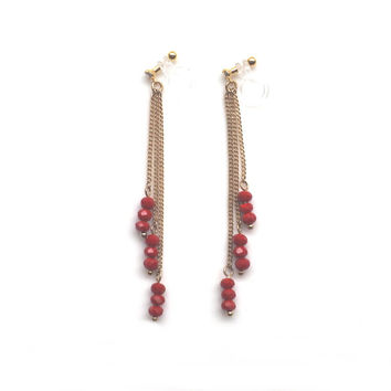 Dangle Red Beaded Clip On Earrings Long Gold Chain Invisible Clip On Earrings Pierced Look Clip Earrings Non Pierced Earring Gift For Her