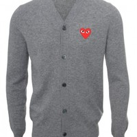 PLAY MENS RED HEART CLASSIC CARDIGAN GREY
