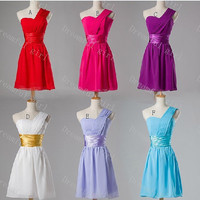 So many color by choosing Short homecoming dress one shoulder chiffon with sashes lace up back cocktail dress