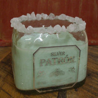 20 oz  Pure Soy Candle in Reclaimed Patron Tequila scented Frozen Magarita with Rio Salt Crystals
