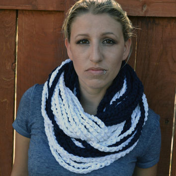 Nautical chunky crocheted loop infinity scarf, cowl, chain necklace