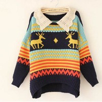 Deer loose sweater women's  gifts for new year from Fashion Accessories Store