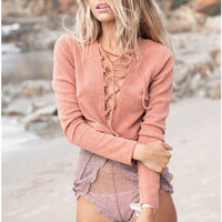 Pink Long Sleeve Criss Cross V-Neck Knit T-Shirt
