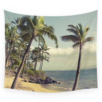 Society6 Maui Lu Beach Kihei Maui Hawaii Wall Tapestry