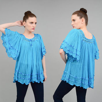 Vintage 70s Blue COTTON GAUZE Top Angel Sleeve Shirt Sheer Crochet Boho Hippie India Blouse Small Medium S M