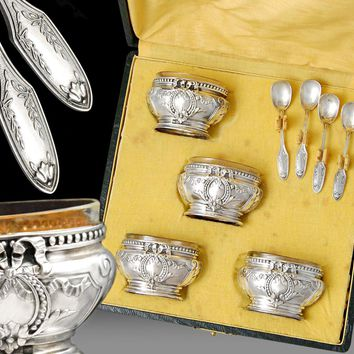Boxed French Sterling Silver Open Salt Cellars & Spoons