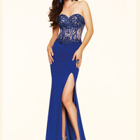 Sweetheart Beaded Lace Paparazzi Prom Dress 98119