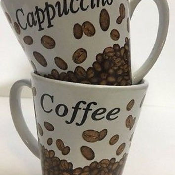 Trisa Stoneware Mugs Set of 2 Cappuccino Coffee Beans Pattern Cups Microwave Saf