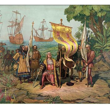 Columbus Discovering America Picture on Canvas Hung on Copper Rod, Ready to Hang, Wall Art Décor