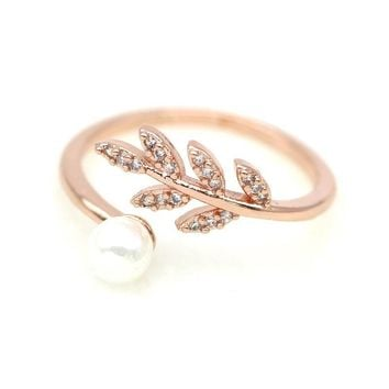Simple Simulated Pearl Leaf Ring Women's New Fashion Jewelry Wholesale Cute Gift Adjustable Rings