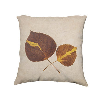 Autumn Aspen Leaves Throw Pillow Cover, Rustic Fall Farmhouse Decor, Leaf Photography, Decorative Photo Pillow Case,  18x18""