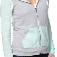 Zine Mint & Grey Raglan Zip Up Hoodie