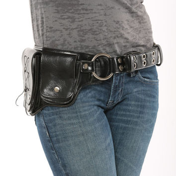 Hip Pack Lace Design Leather Utility Belt - Black/Chrome (Great Festival Belt. Great storage. Large enough to store most ANY phone)