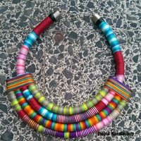 Chunky Statement Necklace, Gift for Her, Textile Necklace, Colorful Necklace, Bib Necklace, Unique African Necklace Colorful Tribal Jewelry