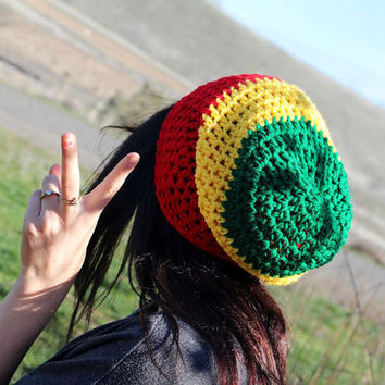 FREE SHIPPING - Crochet Supa Slouch Beanie - Rasta - Red, Yellow, Green