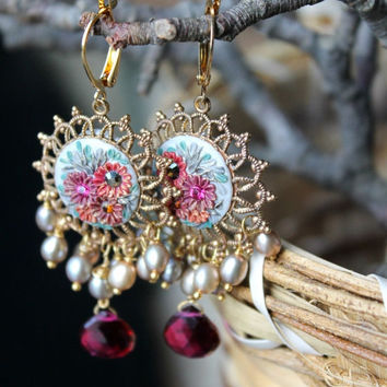 Stunning Silvery Beige Pearl and Rubellite Quartz jewelry, clay floral on brass filigree gold earrings - Cinderellas Garden
