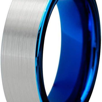 Blue Grey Tungsten Wedding Ring Flat Cut Comfort Fit and Brushed Polished - 6mm