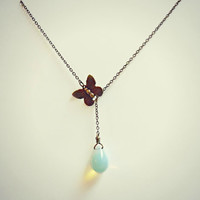 butterfly lariat necklace, moonstone necklace butterfly jewelry, butterfly accessory, vintage butterfly, bridal jewelry