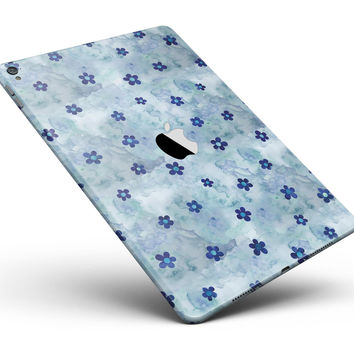 "Cute Watercolor Flowers over Blue Full Body Skin for the iPad Pro (12.9"" or 9.7"" available)"