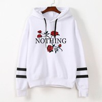 2017 Women Moletom Hoodie Hooded Sweatshirts Cotton Stripe Nothing Rose Floral Long Sleeve Jumper Tumblr Tops Female Pullovers