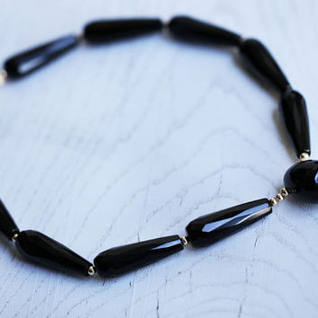 Black necklace with gemstone onyxes and agate. 14Kgold filled beads. Gothic