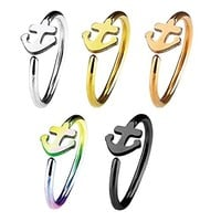 BodyJ4You 5PCS 20G (8mm) Nose Hoop Surgical Steel Anchor Body Jewelry Piercing Gauge Ring Unisexs