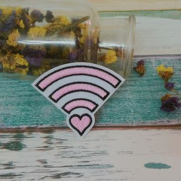 pink wifi patch ,iron on patch ,embroidered patch  jacket patch ,girl patch ,diy ,applique