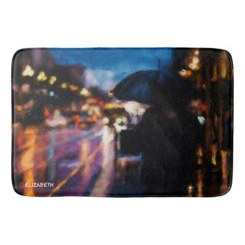 Lady With Umbrella In Rainy Night Moody Drawing Bath Mat