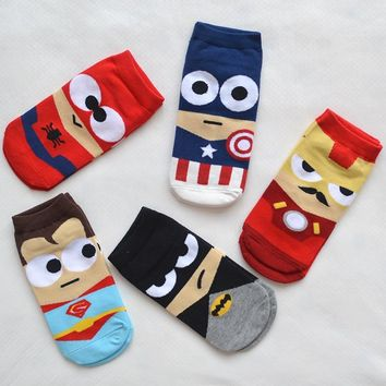 1 Pair Cartoon Superhero Women Socks Cotton Harajuku Kawaii Cute Cartoon Spider Man Fashion Girls Short Ankle Invisible Socks