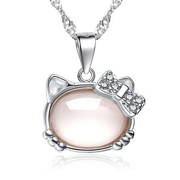 New fashion popular women silver color necklace pendant temperament classic pink Hello Kitty pendants jewelry