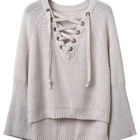 Grey V-Neck Lace Up Front Flared Sleeve Knit Jumper