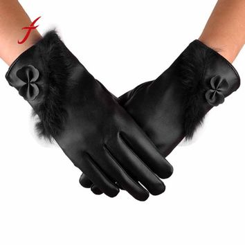 Feitong High Quality Winter Leather female gloves Women Keep Warm Casual tactical Leater Waterproof Driving Full Finger Gloves